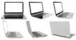Leinwanddruck Bild - set of laptops with cut out screens