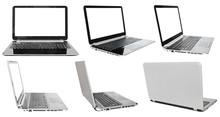 zestaw laptopów z wyciętych ekranach