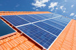 canvas print picture - Solar panels on roof