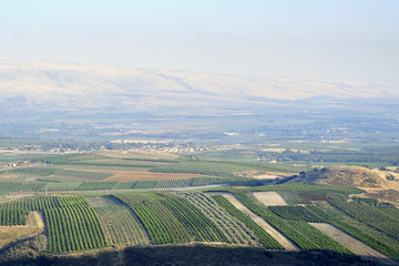 Golan Heights and Metula fields view in Upper Galilee