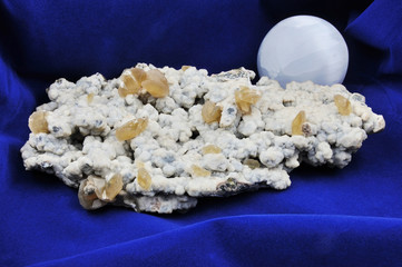 Calcite and Sphalerite cluster, limestone and sphere selenite