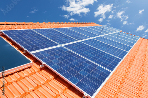 canvas print picture Solar panels on roof