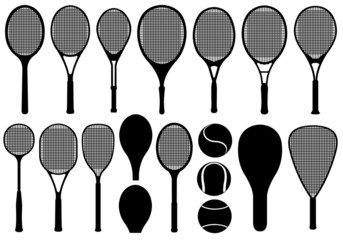 Set of different tennis rackets isolated on white