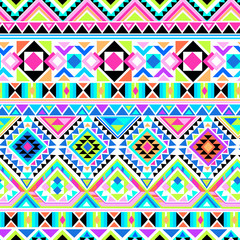neon aztec print ~ seamless background