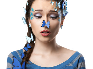 girl art make-up with butterflies