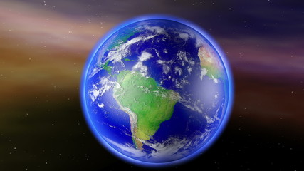 Earth Zoom to South America with Matte