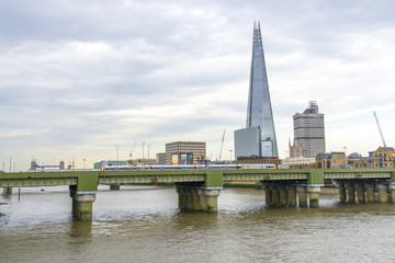 Southwark Bridge and new skyline in London.