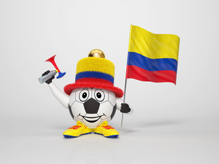 Soccer character fan supporting Colombia