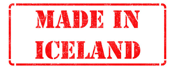 Made in Iceland - inscription on Red Rubber Stamp.