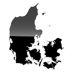 High detailed vector map - Denmark.