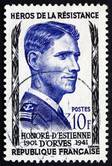 Postage stamp France 1957 Honore d'Estienne d'Orves, Hero