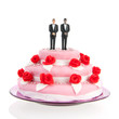 mixed gay couple on top of wedding cake