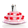 mixed couple on top of wedding cake
