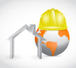 global home building construction. illustration