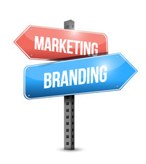 marketing and branding street sign illustration