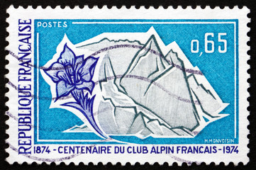 Postage stamp France 1974 French Alps and Gentian