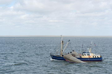 Dutch fishing boat at wadden sea