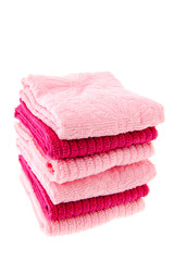 Stacked pink towels