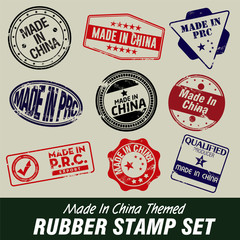 Made In China Themed Rubber Stamps
