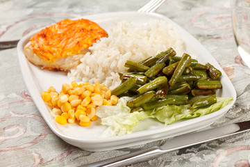 fish with rice and vegetables