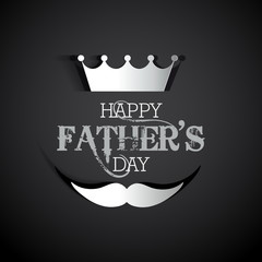 Happy Fathers day card with type font, crown and mustage, gift c