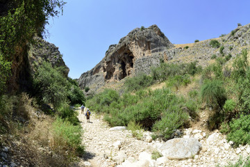 Hiking in Amud gorge, Upper Galilee.
