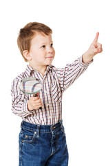 Little boy with magnifying glass and pointing sign