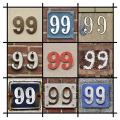 Collage of House Numbers Ninety-nine
