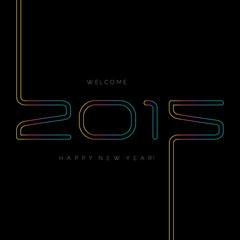 Happy new year 2015, typographic illustration.