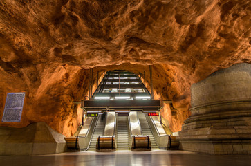 Interior of Radhuset station, Stockholm metro