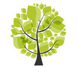 Beautiful Green Tree on a White Background Vector Illustration.