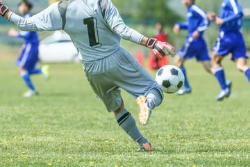 サッカー、フットボール、スポーツ、球技、ボール、足、走る、ドリブル、日本、アジア、グランド、芝生、試合、練習、学生、一人