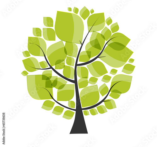 Fototapeta Beautiful Green Tree on a White Background Vector Illustration.