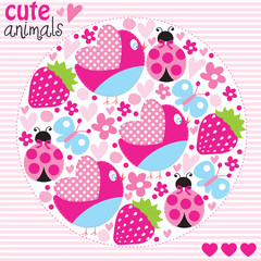 bird ladybird butterfly pattern vector illustration