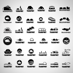 Transport Icons Set - Isolated On Gray Background