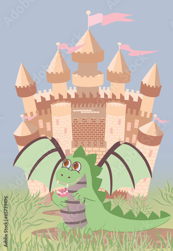 Foto op Aluminium Kasteel Cute dragon and magic castle, vector illustration