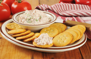 Crackers and ham salad