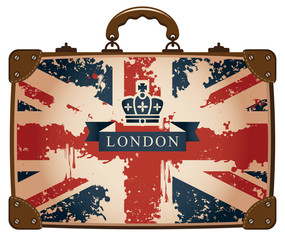 Travel bag with a British flag and crown