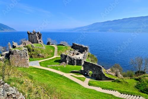 Ruins of Urquhart Castle along Loch Ness, Scotland - 65740230