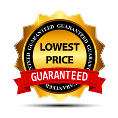Lowest Price Guarantee Gold Label Sign Template Vector Illustrat