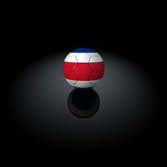 Costa Rica - Pallone con bandiera su sfondo nero