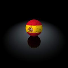 Spagna - Pallone con bandiera su sfondo nero