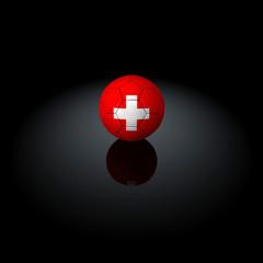 Svizzera - Pallone con bandiera su sfondo nero