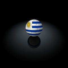 Uruguay - Pallone con bandiera su sfondo nero