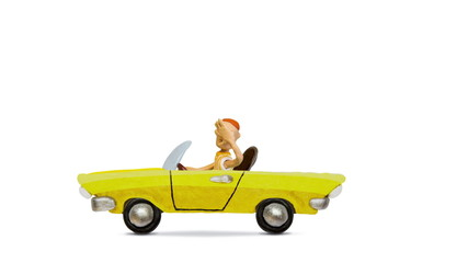 Man driving a convertible vintage car, alpha matte, stop motion.