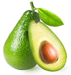 Avocado with leaf isolated