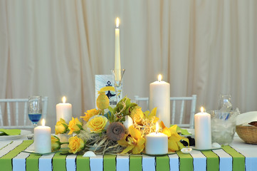 wedding candle table arrangement