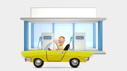 Gas Station and plasticine Car, stop motion.