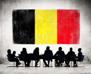 Business People and the National Flag of Belgium