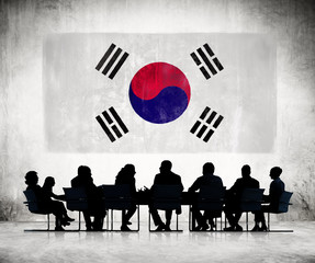 Business People and the National Flag of Korea